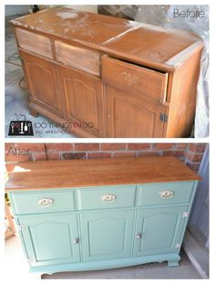 Take an old sideboard and mix it with some Irish fun and a great pair of knobs and you get this fantastic buffet makeover! Painted furniture, furniture makeover, mint furniture #oldfurniture