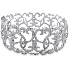 Ice 4.32 CT Diamond 14k White Gold Bracelet ($7,830) ❤ liked on Polyvore featuring jewelry, bracelets, accessories, women's accessories, diamond bracelet, white gold bracelet, white gold diamond bracelet, diamond jewelry and diamond bangle