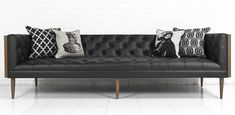 Custom Neutra Sofa in Black Leather by ModShop
