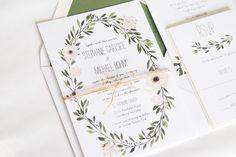 Watercolor Wreath Greenery Wedding Invitation: STEPHANIE. by twigandjuniper on Etsy https://www.etsy.com/listing/267030783/watercolor-wreath-greenery-wedding
