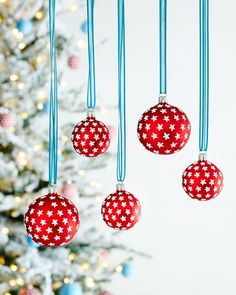 Red Silver-Star Ball Christmas Ornament, Set of2