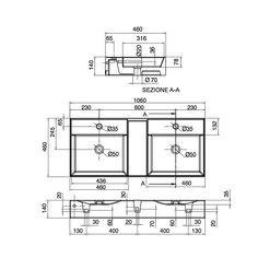 8035 Scarabeo  Scarabeo Teorema Dobbelservant 1060x460 mm, Hvit, m/bl.hull og overløp