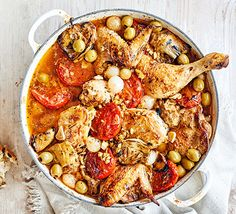 Cater for a crowd with this easy, hearty chicken casserole that evokes summer in Provence using a fragrant selection of herbs, tomatoes, olives and artichokes Chicken Casserole, Casserole Dishes, Casserole Recipes, Chicken Recipes Video, Baked Chicken Recipes, Chicken Ideas, Bbc Good Food Recipes, Healthy Chicken Recipes, Bbc Recipes