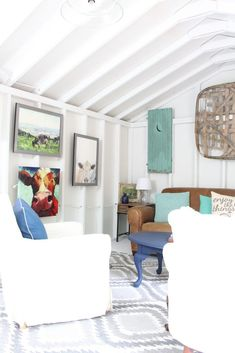 One Room Challenge She Shed Reveal. 2 Bees in a Pod She Shed makeover. Farmhouse She Shed. Rustic Shed Shed Makeover.The Hive. Shed Decor, Diy Home Decor, Living Room Furniture, Living Room Decor, Living Rooms, Rustic Shed, Shed Makeover, Vintage Shutters, Shed Interior