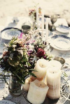Wildflowers + Pillars + Lace + Candlesticks