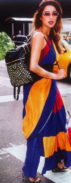 trousers: tod's, calfskin wedges: prada, sunglasses: fendi, belt: mcQ, backpack: DKNY.
