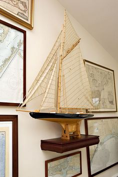 vintage maps and boats--love this look! nautical