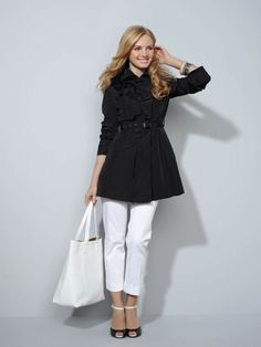 Minus the shoes with horizontal straps.  Love the flared trench with belt!