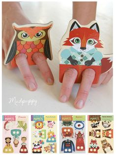 Finger Puppets by Mudpuppy Felt Finger Puppets, Hand Puppets, Craft Activities For Kids, Crafts For Kids, Paper Toys, Paper Crafts, Jr Art, Creative Play, Wood Toys
