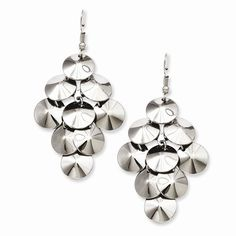 Chisel Stainless Steel Polished Circles Chandelier Style Dangle Earrings