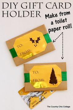 Make this DIY gift card holder from a paper towel roll in minutes! #giftideas #christmas