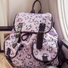 Functional Unicorn Emoji Print Backpack