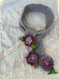 by GabrielleEloise on Etsy Scarf Styles, Fashion Necklace, Hand Knitting, Crochet Necklace, Scarves, Felt, Floral, Etsy, Accessories