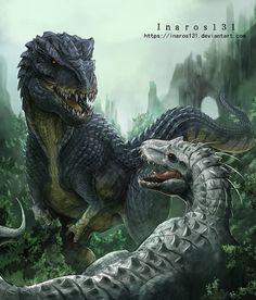 dinosaur art Vastatosaurus VS Indominus by Monster Concept Art, Fantasy Monster, Monster Art, Dinosaur Drawing, Dinosaur Art, Prehistoric World, Prehistoric Creatures, Fantasy Creatures, Mythical Creatures