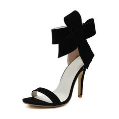 SheIn(sheinside) Black With Bow Back Zipper High Heeled Sandals ($31) ❤ liked on Polyvore featuring shoes, sandals, heels, black, black stilettos, back zip sandals, heels stilettos, black bow sandals and black sandals