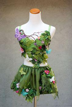 Clothing  Costume  halloween  rave  bra  custom bra  edc  costume  forest  burning man  fairy  butterfly  leaves poison ivy  fantasy