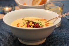 Kremet maissuppe med chorizo