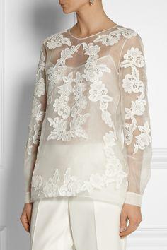 Oscar de la Renta|Embroidered silk-organza top|NET-A-PORTER.COM