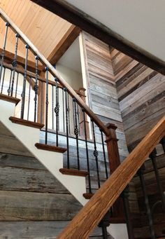Best Barn Wood Steps Foyer In 2019 House Stairs Wood 400 x 300