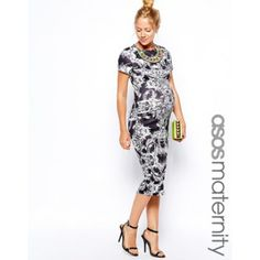 Picture of ASOS Maternity Bodycon Dress In Baroque Print With Necklace