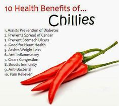 *What Research Shows About Potential Health Benefits of Chilli.*  Chilli peppers not only add zing to the food, they have numerous health benefits as well.  The health benefits of chilli include fighting inflammation, pain relief, cold and flu protection, cardiovascular health, cancer prevention and weight loss.  #healthytips #healthtips #healthcare #health #healthyliving