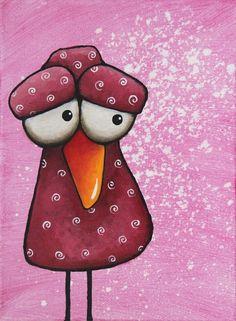Original acrylic canvas painting whimsical animal folk art masala bird swirls #whimsicalanimalpainting