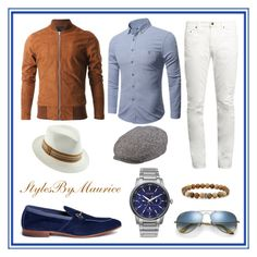 """""""Dapper Casual Fashion"""" by mauricee-brewer on Polyvore featuring Henderson, Yves Saint Laurent, Ray-Ban, Stetson, Santana by Carlos Santana, Room101, Citizen, men's fashion and menswear"""