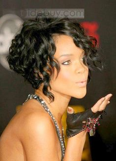 Hot Sale New Fashion Rihanna Hairstyle Short Curly Black Hand Tied Lace Wig