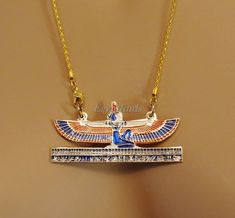 Egyptian Hand Made Brass Kneeling Isis On Hieroglyphics Base Coloured Necklace Ankh Necklace, Collar Necklace, Mlb, Art Deco Jewelry, Unique Jewelry, Egyptian Scarab, Isis Goddess, Egyptian Costume, Egyptian Jewelry