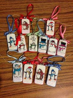 Craftin with HappiLeaStamppin: Christmas (Domino) Ornaments using mostly Stampin' Up products. You must use sharpies to color... nothing else works!