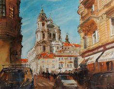 Sergiy Lysyy PRAGA Notre Dame, Landscape, Building, Travel, Painting, Watercolors, Prague, Watercolor Art, Water Colors