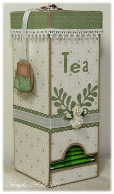 Tea dispenser.  I think doing this in wood would be way more work than it is worth, but still like the idea.