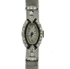 Art Deco Gubelin Platinum Diamond Sapphire Dress Lady's Watch Featured in our upcoming auction on June 14!