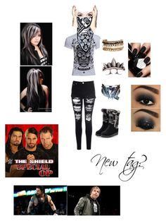 """""""What if the Shield had a woman?"""" by blackandblue7 on Polyvore featuring moda, Glamorous, Pamela Love, Jenny Packham, GUESS, REBEL8 e WWE"""