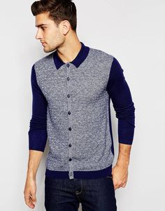 ASOS Polo Neck Cardigan in Merino Wool Mix