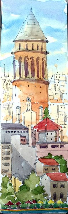 Sketching & painting by observation/imagination Building Illustration, Book Illustration, Drawing Sketches, Drawings, Sketching, Pen And Wash, Urban Sketchers, Watercolor Drawing, Travel Light