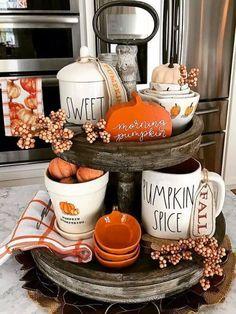 Fall Home Decor, Autumn Home, Diy Home Decor, Room Decor, Design Scandinavian, Farmhouse Side Table, Farmhouse Decor, Farmhouse Style, Modern Farmhouse