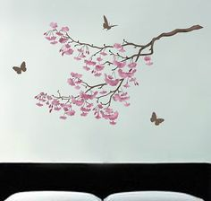 Stencil Cherry Blossoms, reusable stencil for walls better than decals.