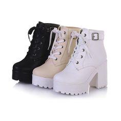 2016 Womens Chunky Heel Platform Lace-Up Punk Goth Creeper Ankle Boots Shoes 2016 Frauen Blockabsatz Plattform Lace-Up Punk Goth Creeper Stiefeletten Schuhe Platform Boots, High Heel Boots, Knee Boots, Heeled Boots, High Heels, Platform Wedge, Calf Boots, Strappy Heels, Lace Heels