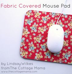 Fabric Covered Mouse Pad Tutorial by Lindsay Wilkes from The Cottage Mama. www.thecottagemama.com #rileyblakedesigns #sidewalks #octoberafternoon