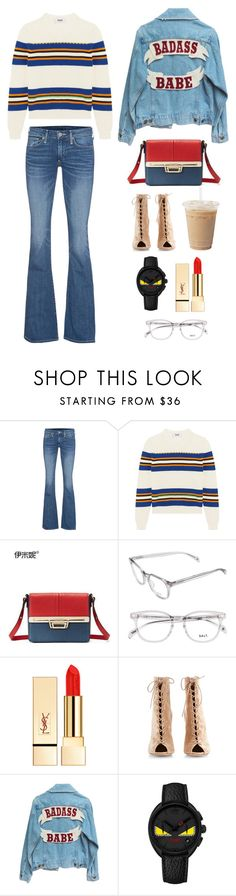 """""""Camille Rowe"""" by jilliean ❤ liked on Polyvore featuring True Religion, MSGM, Emini House, PUR, Gianvito Rossi and Fendi"""