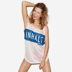 Inhale Exhale White Mesh Tank Top