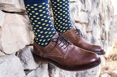 Calcetines azules con puntos amarillos Lemonade Attack Lemon Office, venta en la tienda on-line