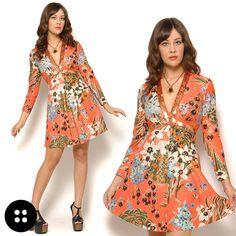 Sequin Floral Mini Dress / Vintage 70s #fashion