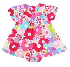 Vestido de manga corta estampado de flores de la coleccion con amplia falda. Incluye ranita a juego hasta la talla 18 meses.    COMPOSICION: 100% algodon.