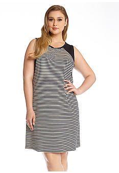 1dbce7f2b84 Karen Kane Plus Size Black and White Contrast Yoke Dress  Karen Kane  Plus   Size
