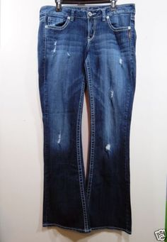 SILVER-Jeans-33x35-Distressed-LOLA-Flares-Low-Rise-Distressed-Size-16-36-034-waist