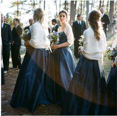 Navy blue bridesmaids dress with white pashmina/shawl
