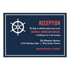 Navy and Coral Nautical Wedding Reception Card Personalized Announcement