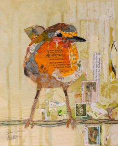 mixed media collage by Elizabeth what a great bird, love the stance.